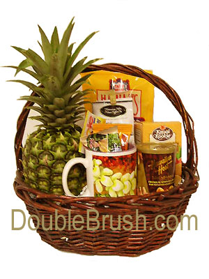 New and Exclusive Fresh Pineapple Gift Baskets from Hawaii - Double Brush Candles, T Shirts & Art Prints